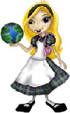 "The main character, Alice, of the computer programming game called ""Alice."""