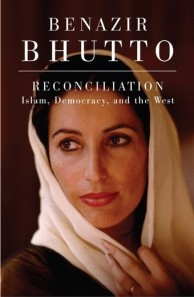 "This handout photo courtesy of HarperCollins received 08 January 2008, shows the book cover for ""Reconciliation Islam, Democracy, and the West by Benazir Bhutto. A book by Pakistan's former opposition leader Benazir Bhutto, finished just days before her assassination last month, HO/AFP/Getty Images"