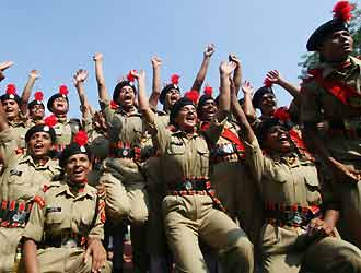 First female cadets in the BSF in Hoshairpur, Punjab (AFP)