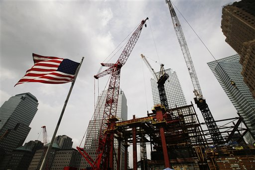 Freedom Tower at the World Trade Center, Tuesday, Sept. 8, 2009, in New York (AP Photo/Mark Lennihan)