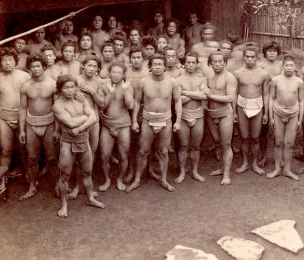 The Gentleman's Sport: Male Sumo wrestlers during older (and apparently lighter) times, circa 1903