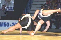 Leotard-clad sumo wrestlers