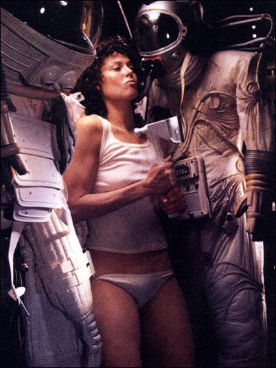 Sigourney Weaver as Ellen Ripley in Alien (1979); barely there underwear, but barely feminine as a heroine