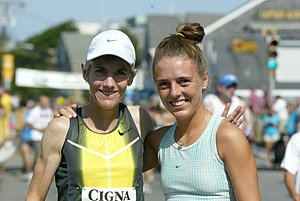 Joan Benoit Samuelson and daughter, Abby, after the 2008 Olympic Marathon Trials