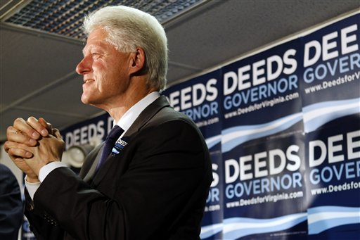 Former President Bill Clinton attends a campaign stop with Democratic gubernatorial candidate R. Creigh Deeds, in McLean, Va. on Tuesday, Oct. 20, 2009. (AP Photo/Jacquelyn Martin)