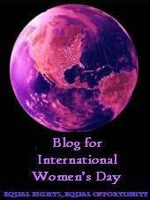 The earth from space in a purple filter, with text: Blog for International Women's Day - Equal Rights, Equal Opportunity